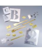 Articles d'identification métallique, plaquettes, jeton, pochoirs, médaillon